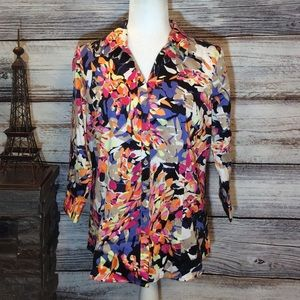 Dana Buchman Colorful Floral Button Up